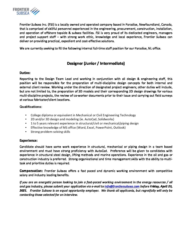 Frontier Subsea Seeking Designer (Jr/Int)